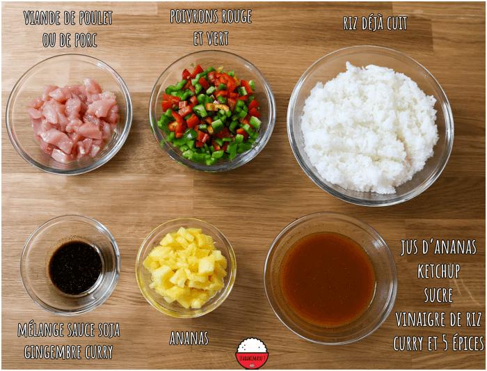 Ingrédients - Riz sauté curry et ananas - Food Wars (Shokugeki no Sôma)